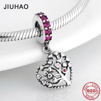 334800b841b7 Alta calidad plata esterlina 925 árbol de corazones vida DIY colgantes  cuentas Original Pandora pulsera del