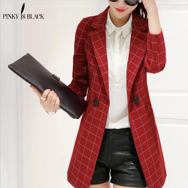 Blazer feminino 2016 primavera e no outono nova blazer mulheres jaqueta terno fino xadrez médio-longo-manga longa ocasional blazer outerwear