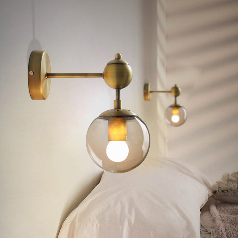 Retro Industrial Style Bedroom Bedside Wall Lamp Creatiive Magic Bean Glass Mirror Bath Aisle Kitchen Wall
