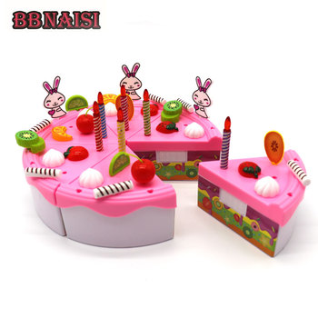 Kids DIY Pretend Play Cake Cutting Birthday Cake Kitchen Food Fruit Toys Toy Pink Blue Girls Christmas Gift for Children birthday cake