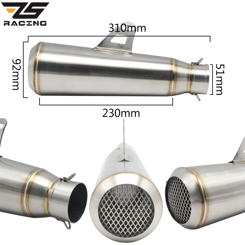 ZS Racing Universal Motorcycle Stainless Steel Muffler Slip On Exhaust For Honda R1 CBR650 GSXR600 750 ZX-6R ZX-10R With Mesh