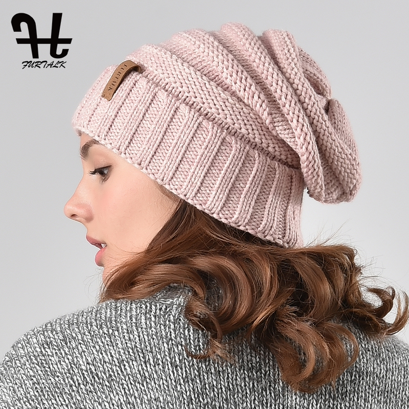 FURTALK Beanie Hat Women Winter Knitted Hat Female Wool Soft Warm Skullies Cap Winter Slouchy Beanie Cap For Girls Autumn 2019