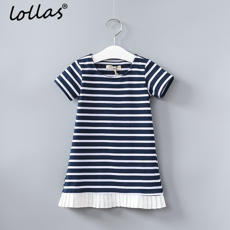 Lollas 2018 Summer Girls Dress Sleeve Blue Stripe New Children Ruffles Dress Cotton Casual Dresses Kids Clothing