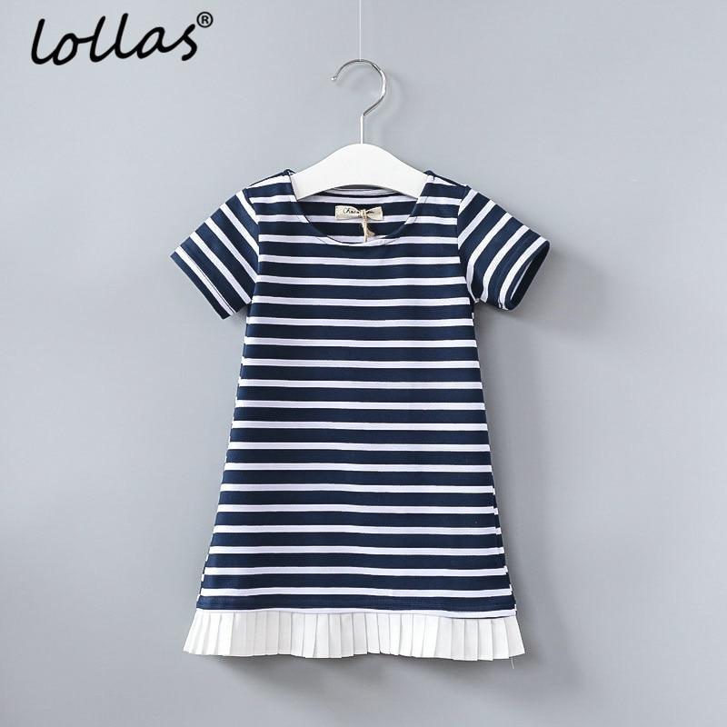 Lollas 2018 Summer Girls Dress Sleeve Blue Stripe New Children Ruffles Dress Cotton Casual Dresses Kids Clothing