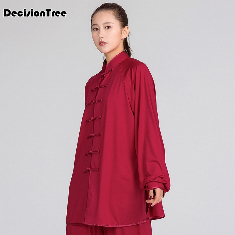 2019 Martial Arts Set Taiji Kungfu Clothes Female Bamboo Embroidery Cotton High Collar Long Sleeve Martial Art Uniform
