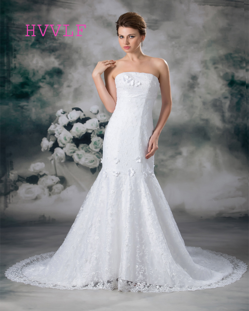 Lace 2019 Wedding Dresses Mermaid Strapless Backless Plus ...