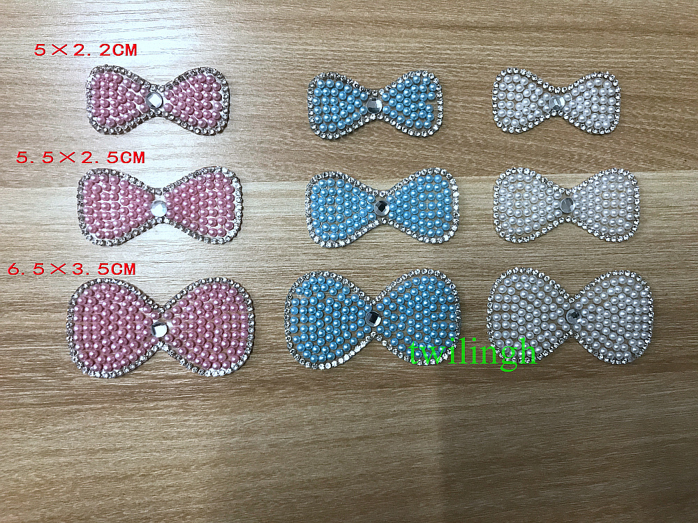 1 Piece Patches Pearl Bow Tie Hot Fix Rhinestone Motif Crystal iron Patch Applique For Baby Clothes Suit