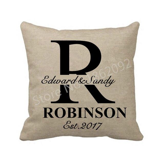 Personalised Monogram Pillow Cover Case Custom Last Name Cushion
