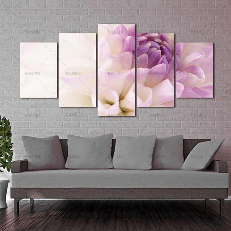 Canvas Painting Wall Art Picture Modular pictures Print 5 piece Purple flowers on wall pictures living room cuadros decoracion