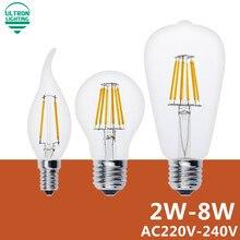 Led Filament Light E27 Antique Retro Vintage Led Edison Bulb 220V Lamparas Led Lamp 2W 4W 6W 8W  E14 Bombillas Led Candle Light