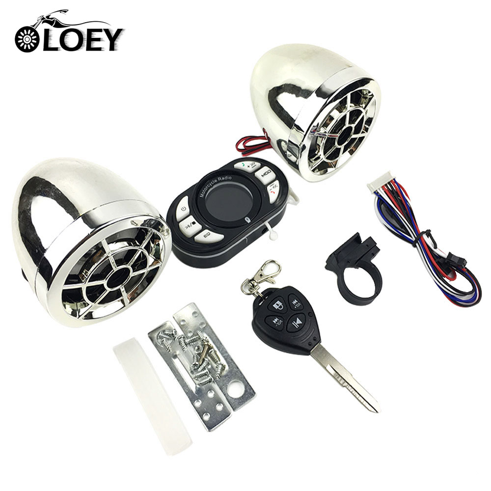 Motorcycle Bluetooth Mp3 Music Player Alarm Audio Radio Sound System Stereo Speakers Scooter Security Alarm USB Mobile Charge