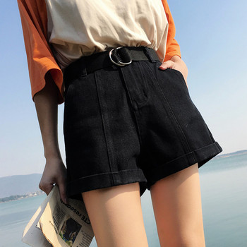 S-XL,2XL plus size 2018 summer high waist shorts feminino denim shorts roll up  jeans womens casual shorts (0920) 1