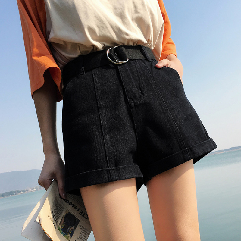 S-XL,2XL plus size 2018 summer high waist   shorts   feminino denim   shorts   roll up jeans womens casual   shorts   (0920)