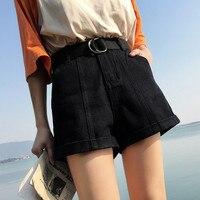 S-xl, 2XL Плюс Размер 2018 летние шорты с высокой талией feminino джинсовые шорты откатные Джинсы женские повседневные шорты (0920)