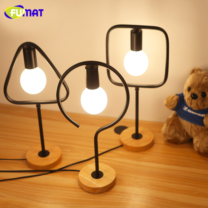 FUMAT Bedroom Table Lamps Creative Office Desk Lamps Vintage Wood Base Iron Table Lamp for Study Cafe Bar Decoration Desk Light