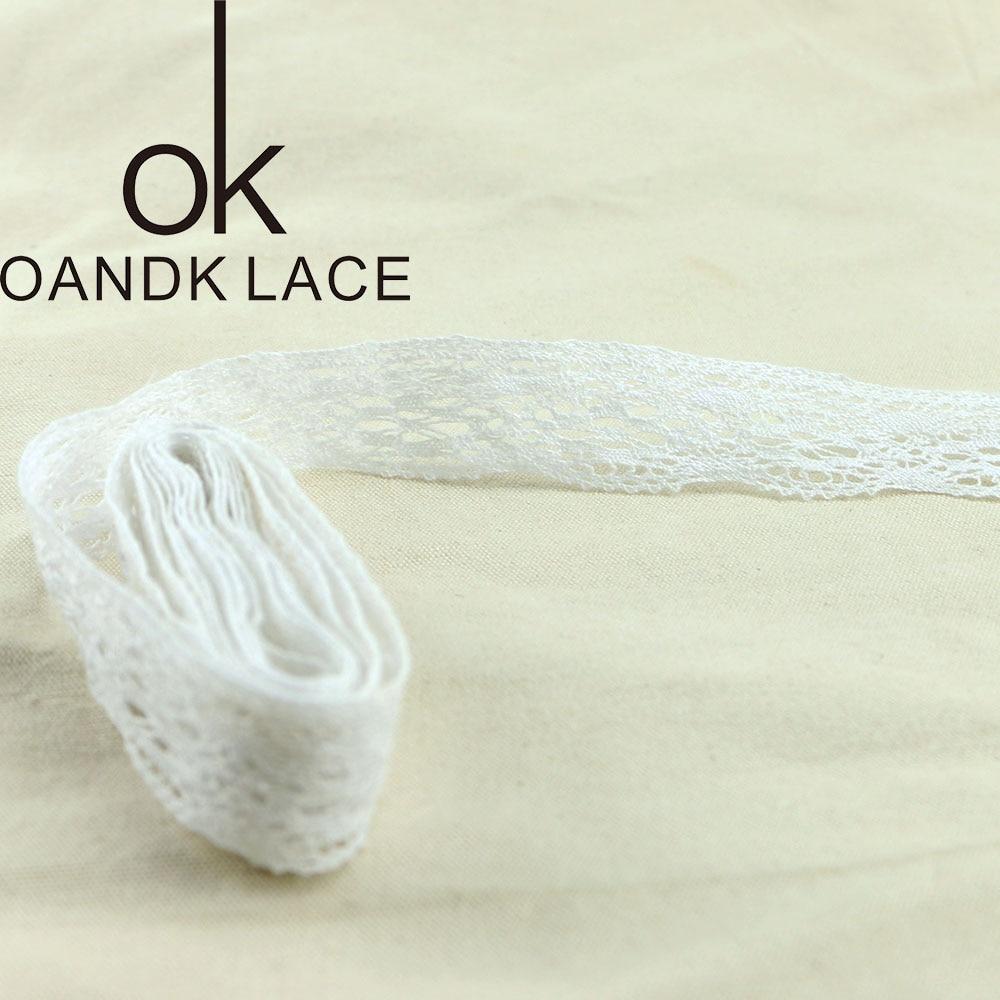 4YARD Apparel Sewing Fabric DIY Ivory Cream Black Trim Cotton Crocheted Lace Fabric Ribbon Handmade Accessories Craft 11021