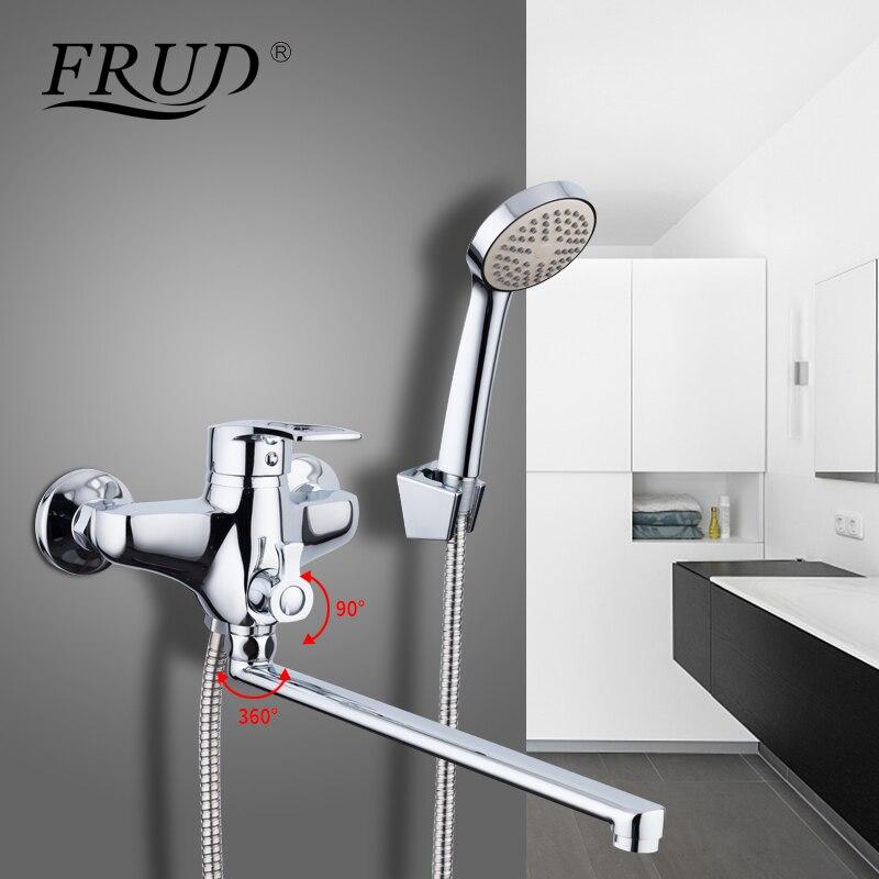 FRUD 1 set 35 cm sortie tuyau salle de bains robinets de douche ensemble baignoire Chrome robinet mélangeur mural robinet avec ABS pomme de douche R22066