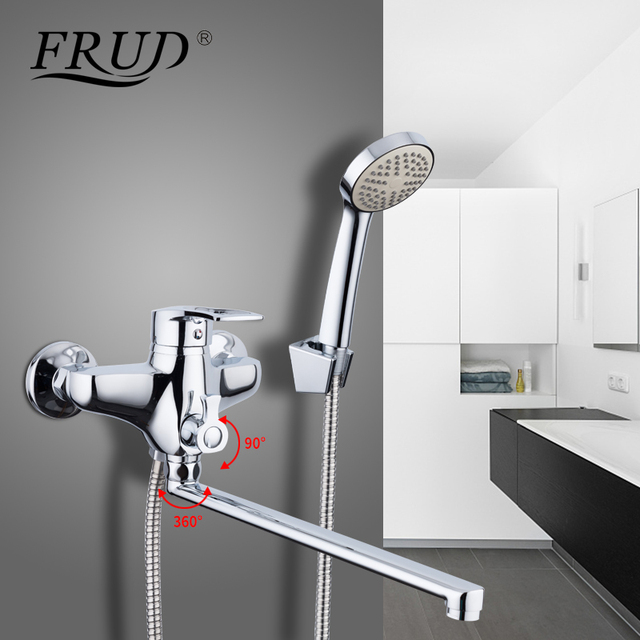 Delicieux FRUD 1 Set 35cm Outlet Pipe Bathroom Shower Faucets Set Bathtub Chrome Tap  Mixer Wall Mounted
