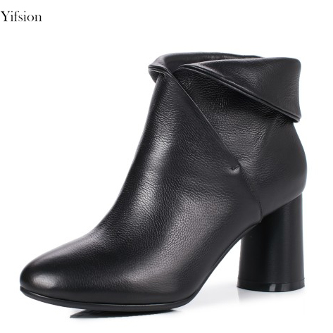 Yifsion New Arrival Women Winter Leather Ankle Boots Square Heel Boots Charm Round Toe Ladies Office Shoes Women US Size 3-10.5Yifsion New Arrival Women Winter Leather Ankle Boots Square Heel Boots Charm Round Toe Ladies Office Shoes Women US Size 3-10.5