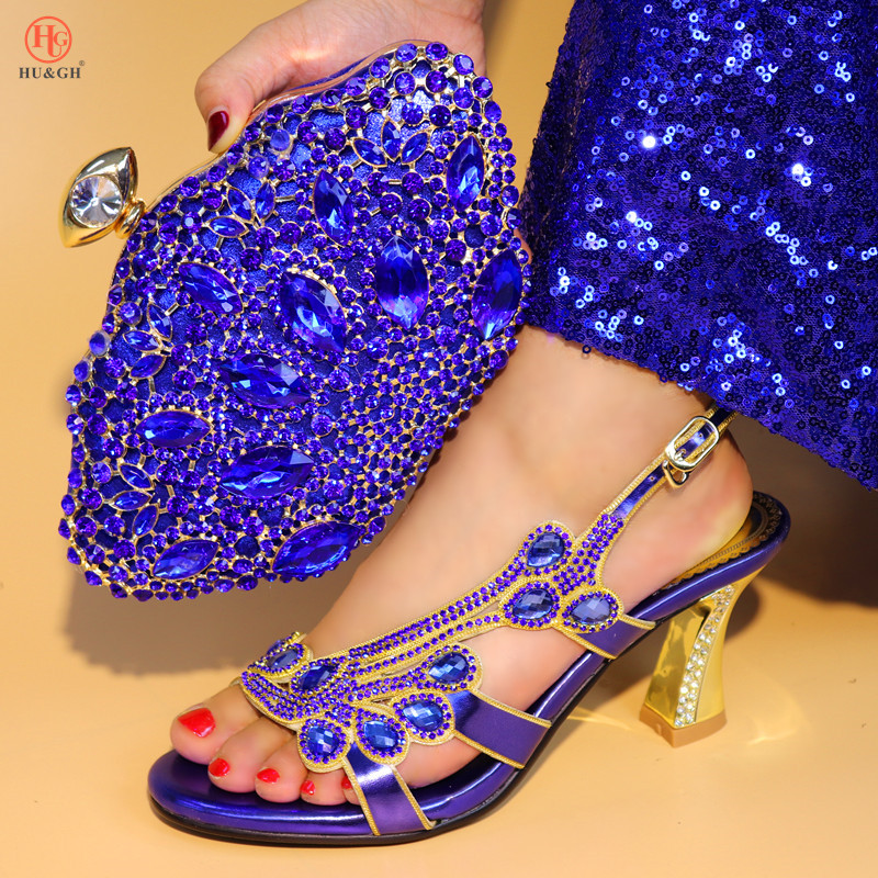 Latest Lady Blue Color Matching Italian Shoe and Bag Set Decorated with Rhinestone Hot Sales In Women Matching Shoes and Bag Set stylish hemming chain and striped printing color matching voile scarf for women