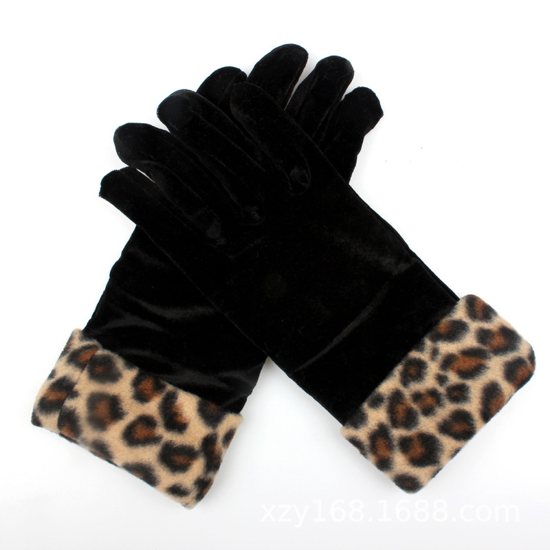 Gold Velvet Leopard Gloves Women's Fashion Sexy Etiquette Gloves Cycling Cold Gloves Autumn And Winter Warm Jewelry