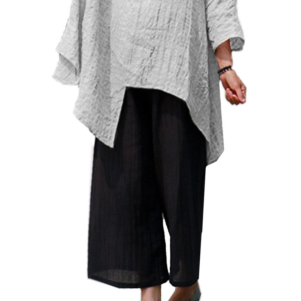 Vintage Solid Color Cotton Linen Plus Size Women   Wide     Leg     Pants   Baggy Trousers