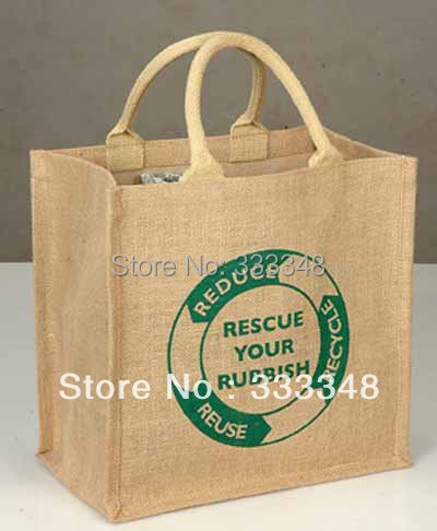 Whole Customizedfiber Jute Tote Bag With Laminated Backing Logo Printing Ping For Promotion C50