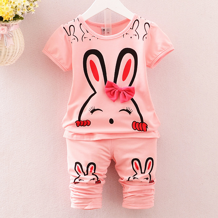 2018 New Fashion Summer Children Clothing Sets Kids Girl Outfits Cartoons Rabbit Short Sleeve Cotton Tops Skirt Suits Clothes new fashion summer kids girls clothing sets cotton sleeveless polka dot strap girls jumpsuit clothes sets outfits children suits