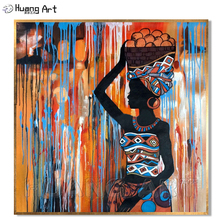 Artist Pure Hand-painted High Quality Modern Hooded African Women Oil Painting for Decor Black Portrait Wall