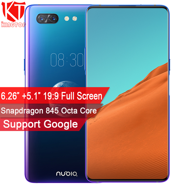 New ZTE Nubia X Mobile Phone 8GB+128GB Snapdragon 845 Octa Core 6.26+5.1 inch Dual Screen 16+24MP Camera 3800mAh Fingerprint