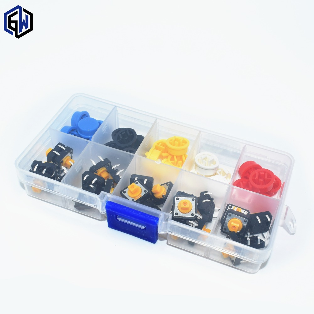 цена на 25PCS Tactile Push Button Switch Momentary 12*12*7.3MM Micro switch button + 25PCS Tact Cap(5 colors)