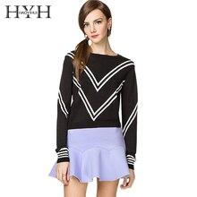 HYH HAOYIHUI Color Block Stripe Women Sweater Preppy Chic Sweet Pullover Winter Casual Slim Female
