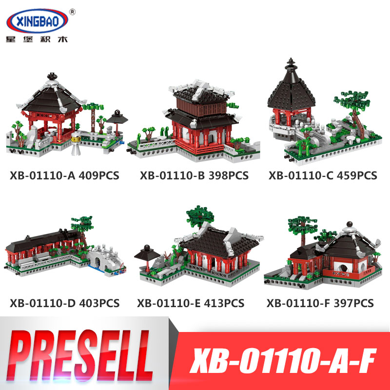 XingBao 01110 Chinese Style Building Series 6 in 1 Chinese Suzhou Garden Model Set Building Blocks Bricks Toys for Children bride and bridegroom custom made tang suit chinese wedding bricks set model building blocks education toys for children kl9007