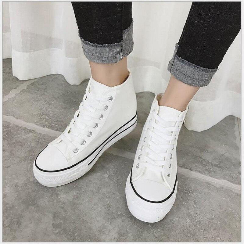 Noir Sneakers Toile Plein Femmes Respirant En Up Plat blanc Chaussures forme De Lace Plate Marche Casual Air Femme bleu rYd6qwad