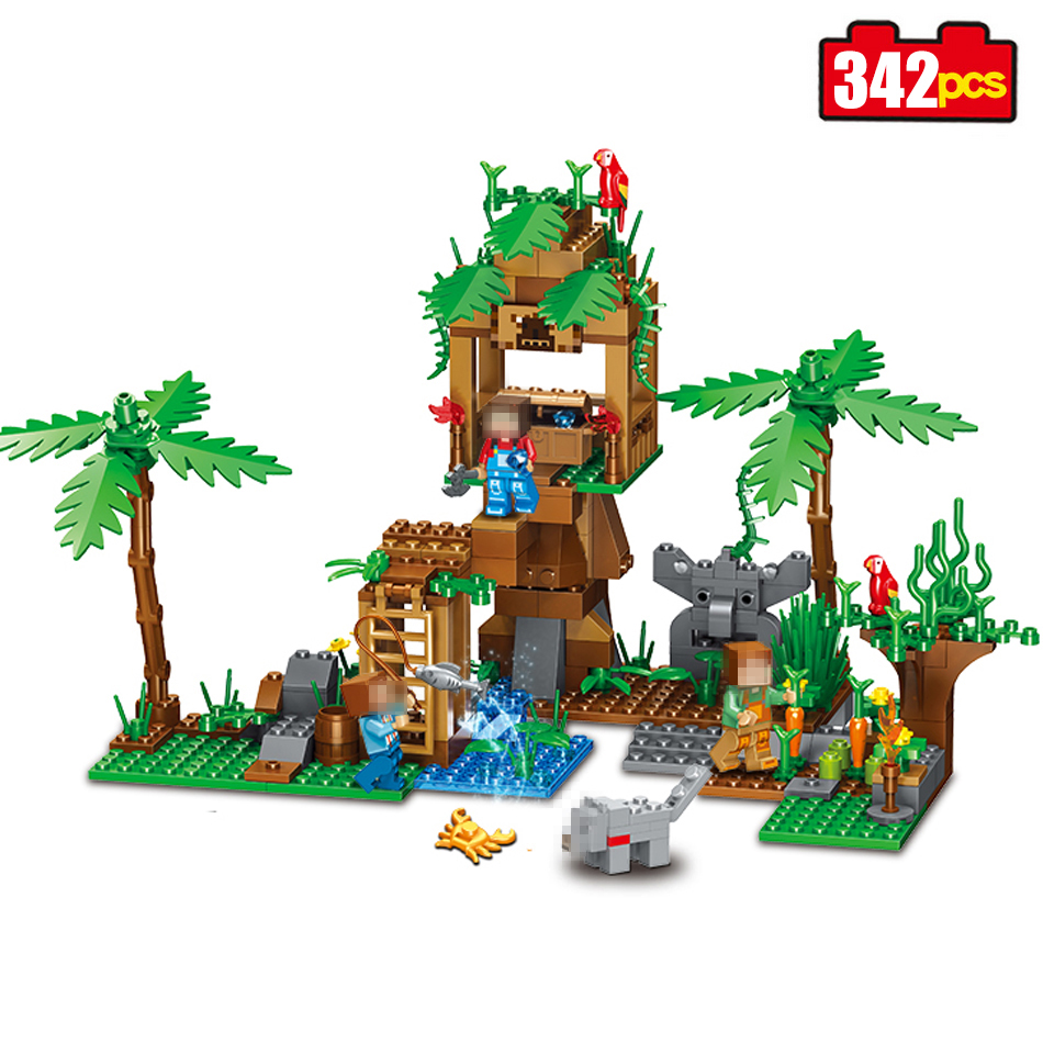 342pcs my World Series tree house in Island Model Building Blocks Compatible Legoed Minecrafted village brick toys for children lepin 18003 my world series the jungle tree house model building blocks set compatible original 21125 mini toys for children
