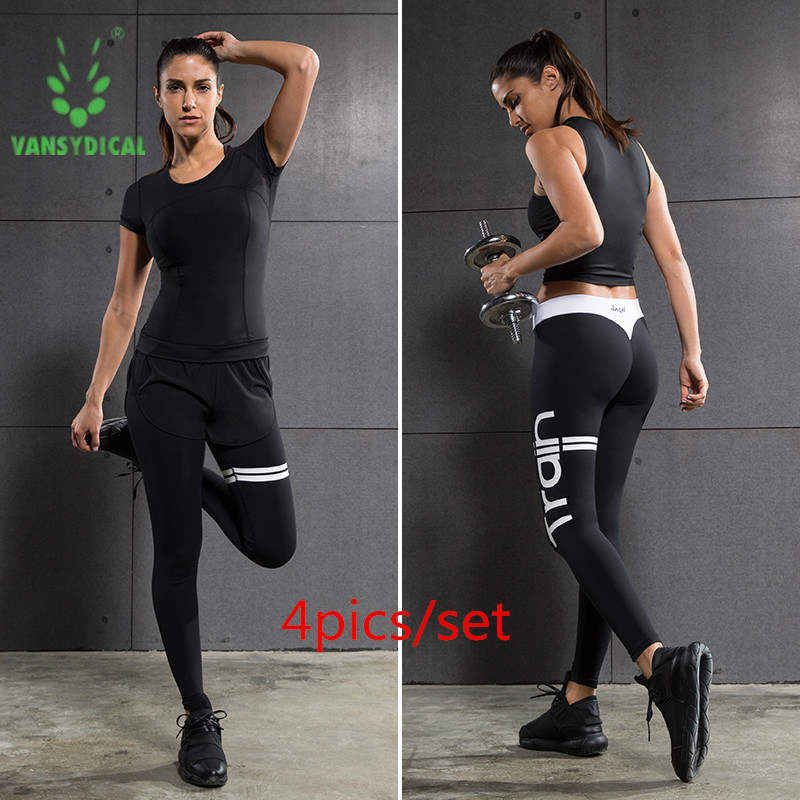 4pcs/set Fitness Gym Workout Women Sport Suit Sportswear Running Cloth Show Thin Quick Dry Shirt+Pants+Shorts+Sport bra Yoga Set retro sweetheart neck pure color button pleated skater dress