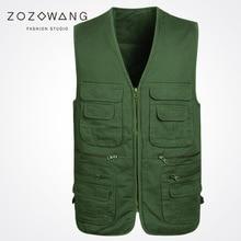 Zozowang 2017 spring autumn solid V-Neck Multi-pocket zipper casual vest men loose plus size 3XL Khaki new waist coat
