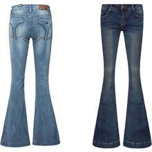 Новое Поступление Бесплатный Драпировка Женщины широкую ногу брюки промывают джинсы женские случайные джинсовые брюки