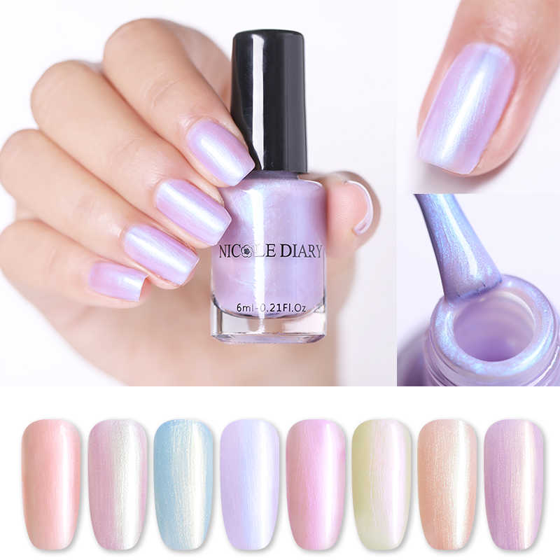 NICOLE DIARY 6ml Pearl Rainbow Nail Polish Peel-off Water-based Nail Art Varnish Manicure Nail Art Decoration Polish