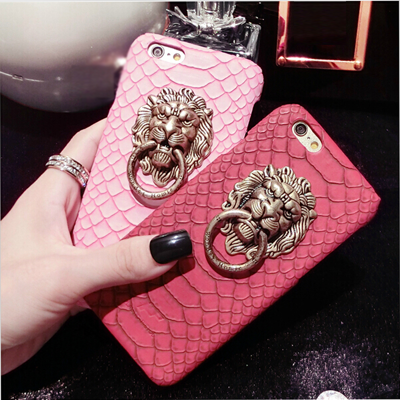 Dower Me Spuer Fashion Sexy Snake PU Leather Skin Metal Lion Head Stand Cover Back Phone Case For IPhone 7 6 6S Plus 5 5S SE