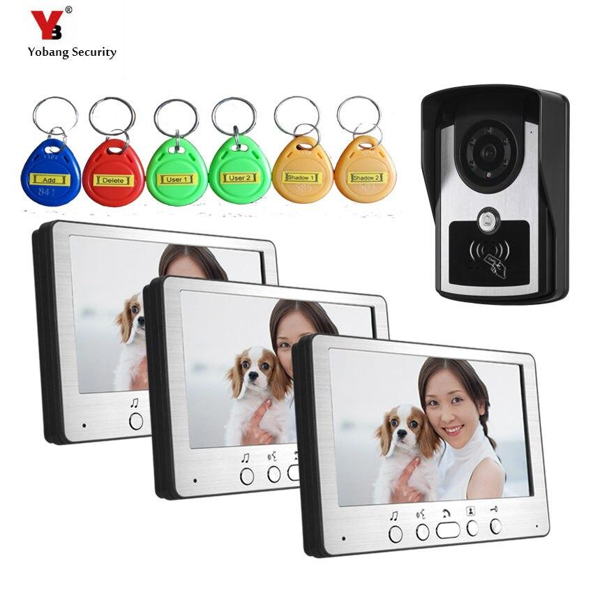 Yobang Security freeship 7inch Video Doorbell Phone hous video intercom system for apartment villa and 1 camera+3 monitor sets полотенце na 2015 70x140cm hous