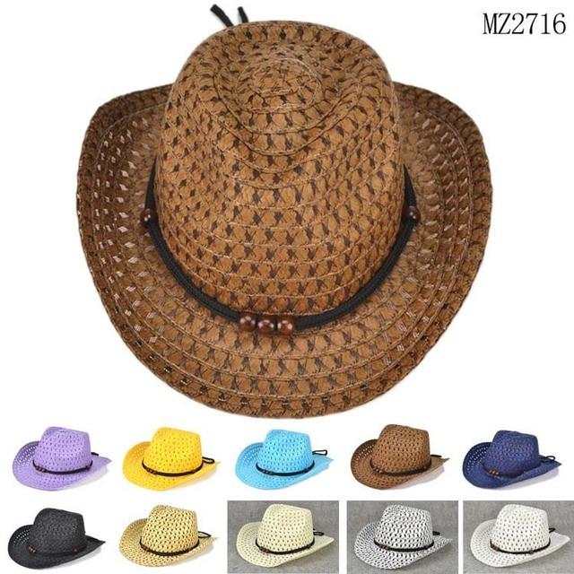 Cuentas cuerda Decoración vaquero sombreros de paja para los niños 2015  nueva moda playa verano Sol 366544cf654b