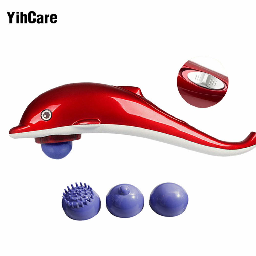 YihCare Electric Dolphin Massager Stick Back Massage Hammer Vibration Infrared Body Roller Cervical Vertebra Massager Device trigger point self massage stick body back massager abs unisex pain relief stick relaxing knock hammer green fe 8