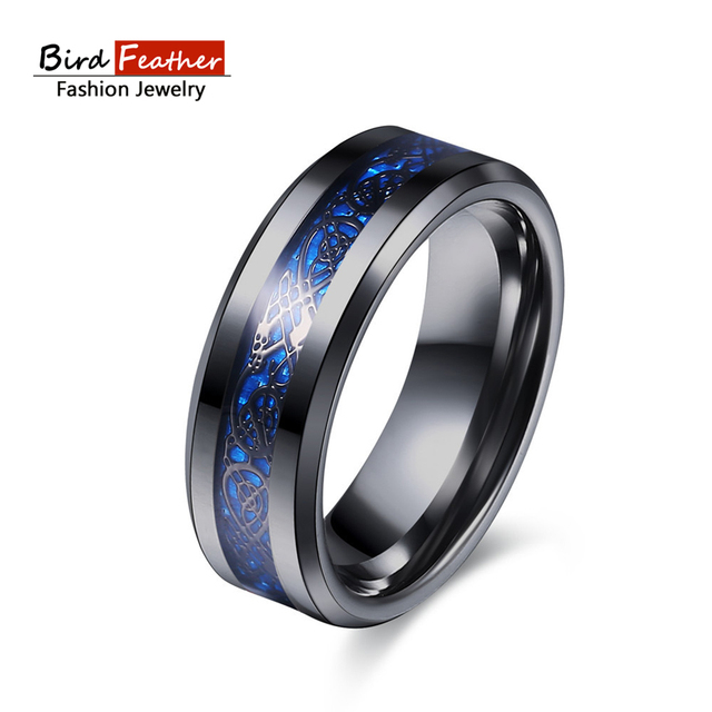 Stainless Steel Men Rings Carbon Fiber Dragon Engagement Ring Blue Color Pattern Punk Fashion Jewelry Wedding