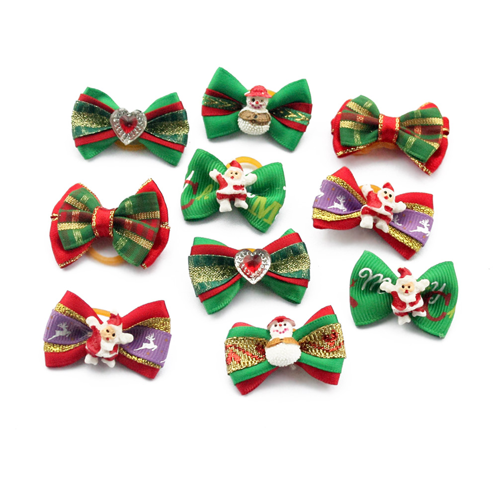 50 Pcs/100 Pcs Handmade Christmas Dogs Bow Festival Grooming Bows For Dogs 6011035 Pet Jewelry Accessories Wholesale