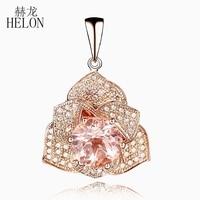 HELON Solid 10k Rose Gold Flower 7mm Round Morganite Pave 0.3ct Natural Diamond Fine Pendant Elegant Diamonds Gemstone Pendant