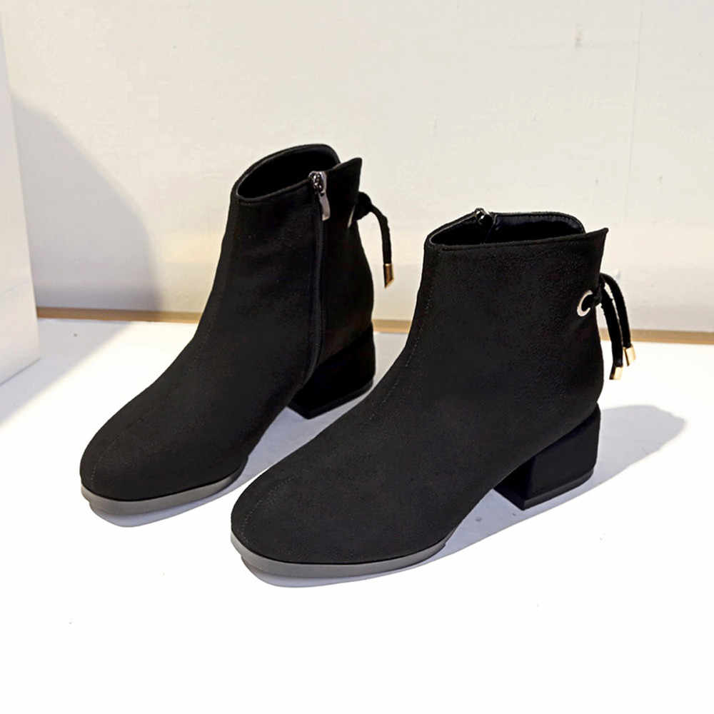 Fashion Winter boots women Round Toe Suede Wedges Solid Color Shoes Martin s  Zipper botas mujer 2652e44a61b9