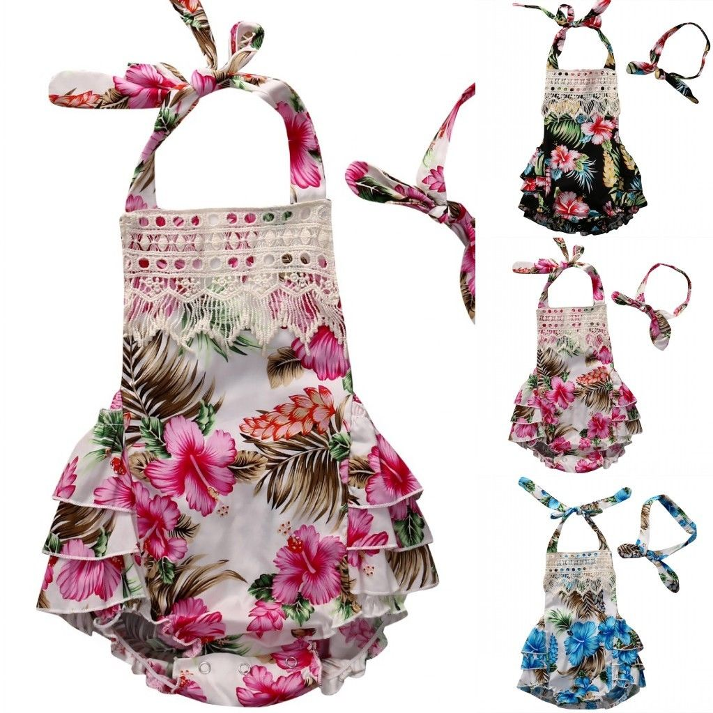 2017 Floral Baby Girl Clothes Summer Sleeveless Flower Romper Bodysuit Ruffles Halter Jumpsuit +Headband 2PCS Outfits Sunsuit 2017 floral baby romper newborn baby girl clothes ruffles sleeve bodysuit headband 2pcs outfit bebek giyim sunsuit 0 24m