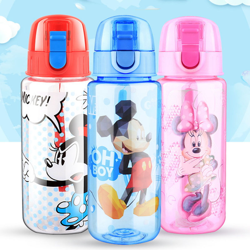 Disney 450ML Mickey Mouse  Cartoon Straight Drink Cups Kids  Lovely Sport Bottles Solid Feeding Water Cups