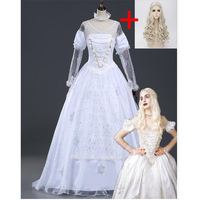 Alice in Wonderland white queen cosplay costume for women Adult female Halloween costume Alice in Wonderland costume Dress wig
